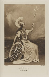 Edith Amelia (née Ward), Lady Wolverton as Britannia, by Lafayette, photogravure by  Walker & Boutall, 1897; published 1899 - NPG  - © National Portrait Gallery, London
