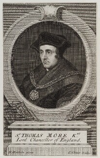 Sir Thomas More, by George Vertue, after  Hans Holbein the Younger, engraved 1725 - NPG D19798 - © National Portrait Gallery, London