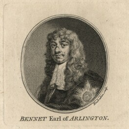 Henry Bennet, 1st Earl of Arlington, by Jacobus Houbraken, after  Sir Peter Lely - NPG D16723
