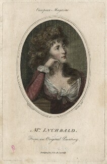 Elizabeth Inchbald, by Wooding, published by  John Sewell, after  John Russell - NPG D16734