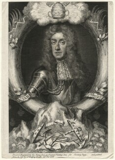 King James II, by George Vertue, after  Sir Godfrey Kneller, Bt - NPG D16729