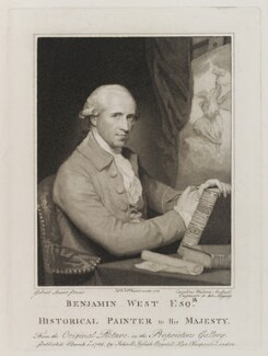 Benjamin West, by Caroline Watson, published by  John Boydell, published by  Josiah Boydell, after  Gilbert Stuart, published 1786 (circa 1785) - NPG D19926 - © National Portrait Gallery, London