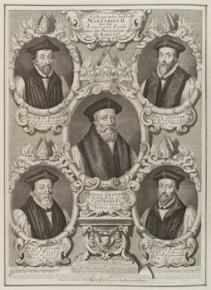 'The Bishops who suffer'd Martyrdom for the Protestant Faith; under the Persecution of Queen Mary I', by and sold by Robert White, printed and sold by  John King - NPG D19937