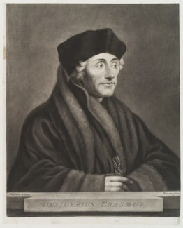 Desiderius Erasmus, by Richard Houston, after  Hans Holbein the Younger - NPG D19939