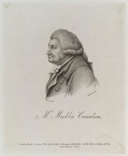 Charles Macklin, by John Wright, published by  William Darling, and published by  John Peter Thompson, after  Charles Hayter - NPG D19956