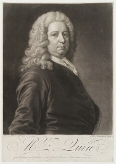 James Quin, by and published by John Faber Jr, after  Thomas Hudson - NPG D19983