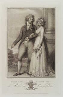 King George IV; Caroline Amelia Elizabeth of Brunswick, by Michael Sloane, published by  Luigi Schiavonetti, after  Richard Cosway - NPG D20038
