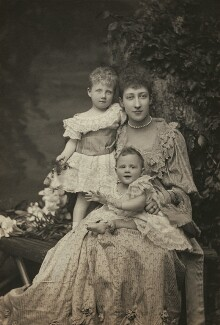 Princess Alexandra, Princess Arthur of Connaught; Princess Louise, Duchess of Fife; Princess Maud, Countess of Southesk, by Alice Hughes, 1894 - NPG x45047 - © National Portrait Gallery, London