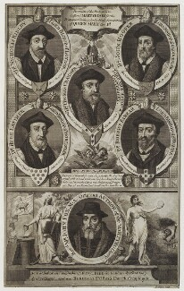 'Portraits of the bishops who suffered martyrdom for the Protestant faith under the bloody persecution of Queen Mary I', probably by William Grainger - NPG D20135
