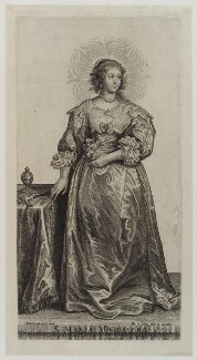 Henrietta Maria, by and published by Pieter de Bailliu the Elder, after  Sir Anthony van Dyck - NPG D20143