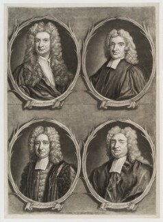 'Worthies of Britain' (Sir Isaac Newton; Edmond Halley; Nicholas Saunderson; John Flamsteed), by Francis Kyte, published by  John Bowles - NPG D20158