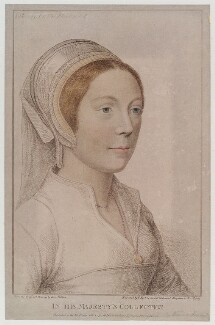 Unknown woman engraved as Catherine Howard, by Francesco Bartolozzi, published by  John Chamberlaine, after  Hans Holbein the Younger - NPG D20279