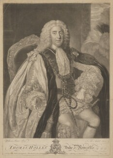 Thomas Pelham-Holles, 1st Duke of Newcastle-under-Lyne, by James Macardell, after  William Hoare - NPG D16851
