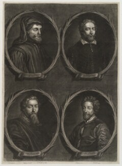 'Worthies of Britain' (Edmund Spenser; Geoffrey Chaucer; John Fletcher; Francis Beaumont), by Francis Kyte, printed and sold by  John Bowles - NPG D20292