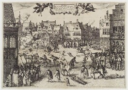 'The Execution of the Conspirators in the Gunpowder Plot' (Guy Fawkes), by Claes Jansz Visscher, 1606 - NPG D20306 - © National Portrait Gallery, London