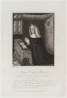 Lady Margaret Beaufort, Countess of Richmond and Derby, by William Thomas Fry, published by  Longman, Hurst & Co, published by  Hurst, Robinson & Co, after  Richard Banks Harraden - NPG D20347