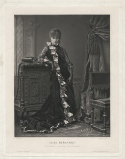 Sarah Bernhardt as Mistress Clarckson in 'L'Etrangère', by Walery, printed and published by  Goupil & Co - NPG x1192