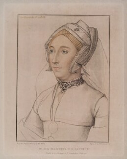 Katherine Bertie (née Willoughby), Duchess of Suffolk, by Francesco Bartolozzi, published by  John Chamberlaine, after  Hans Holbein the Younger - NPG D20482