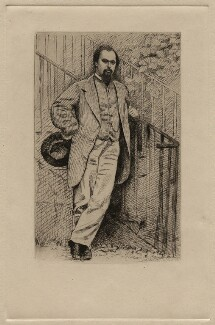 Dante Gabriel Rossetti, by Charles William Sherborn, after  Lewis Carroll - NPG D16902