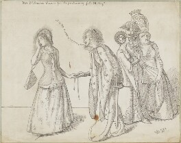 'The Origin of the Order of the Garter' (Joan of Kent; King Edward III and three unknown figures), by Simeon Solomon - NPG D16955