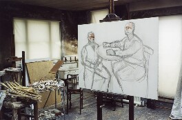 'Lucian Freud's studio with Two Brothers from Ulster', by David Dawson - NPG x126304