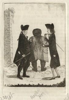 An Exchange of Heads (Hugo Arnot; Roger Hog; William Macpherson), by John Kay, 1780s - NPG D16864 - © National Portrait Gallery, London