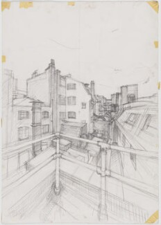 Roofscape sketched from National Portrait Gallery while at work on portrait of John Major, by John Wonnacott - NPG D17004