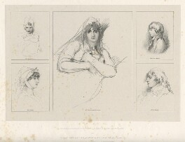 Cecilia Combe (née Siddons); Sarah Siddons (née Kemble); Maria Siddons; George John Siddons; Charles Kemble, by Richard James Lane, published by  Joseph Dickinson, after  Sir Thomas Lawrence - NPG D21827
