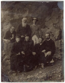 John Murray with six others, by Unknown photographer, 1880s - NPG  - © National Portrait Gallery, London