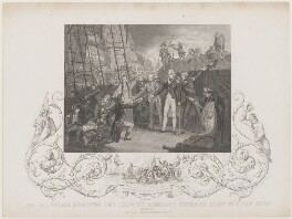 Horatio Nelson ('Admiral Nelson receiving the Spanish Admiral's Sword on Board the San Josef'), by John Rogers, published by  J & F Tallis, after  Daniel Orme - NPG D17805