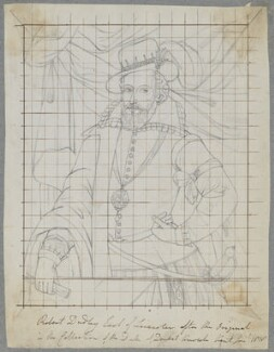 Robert Dudley, 1st Earl of Leicester, by Henry Bone, after  Unknown artist - NPG D17117