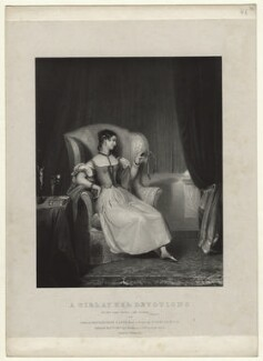 'A girl at her devotions', by Richard James Lane, printed by  Charles Joseph Hullmandel, published by  Joseph Dickinson, after  Gilbert Stuart Newton - NPG D22049