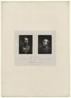 'Studies of heads of Don Quixote and Sancho Panza', by Richard James Lane, printed by  Charles Joseph Hullmandel, published by  Joseph Dickinson, after  Charles Robert Leslie - NPG D22053