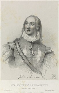 William Farren as Sir Andrew Ague-Cheek in 'Twelfth Night', by Richard James Lane, printed by  Jérémie Graf, published by  John Mitchell, after  Alfred Edward Chalon - NPG D22075