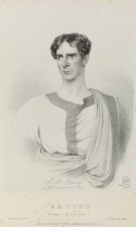Charles Mayne Young as Brutus in 'Julius Caesar', by Richard James Lane, printed by  Jérémie Graf, published by  John Mitchell, after  Alfred Edward Chalon - NPG D22076