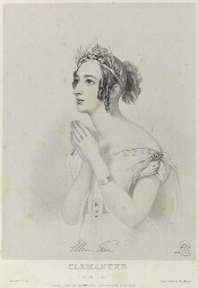 Eleanora ('Ellen') Kean (née Tree) as Clemanthe in 'Ion', by Richard James Lane, printed by  Jérémie Graf, published by  John Mitchell, after  Alfred Edward Chalon - NPG D22099