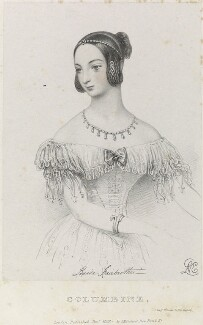 Louisa Fairbrother ('Mrs FitzGeorge') as Columbine, by Richard James Lane, printed by  Jérémie Graf, published by  John Mitchell, after  Alfred Edward Chalon - NPG D22106
