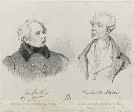 George Bartley as Colonel Detonater and Drinkwater Meadows as Sir Jacob Lukewarm, by Richard James Lane, printed by  Jérémie Graf, after  Alfred Edward Chalon - NPG D22107