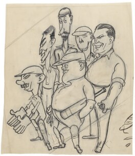 Cricketing stereotypes (possibly including Len Hutton; Frederick Robert Spofforth; Percy Chapman), by Anthony Wysard - NPG D314
