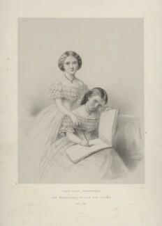 Princess Helena Augusta Victoria of Schleswig-Holstein; Princess Louise Caroline Alberta, Duchess of Argyll, by Richard James Lane, printed by  M & N Hanhart, after  Ann Mary Newton - NPG D22135