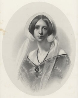 Sara Coleridge, by Richard James Lane, printed by  M & N Hanhart, after  Samuel Laurence - NPG D22537