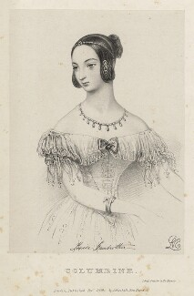 Louisa Fairbrother ('Mrs FitzGeorge') as Columbine, by Richard James Lane, printed by  Jérémie Graf, published by  John Mitchell, after  Alfred Edward Chalon - NPG D22385