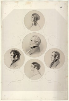 Henry Vincent James Kemble; Fanny Kemble; Charles Kemble; Adelaide Kemble; John Mitchell Kemble, by Richard James Lane - NPG D22398