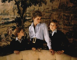 Prince Harry, Duke of Sussex; Diana, Princess of Wales; Prince William, Duke of Cambridge, by Derry Moore, 12th Earl of Drogheda - NPG x126973
