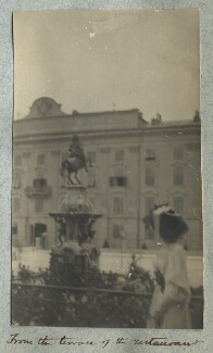 Lady Ottoline Morrell ('From the terrace of the restaurant'), by Philip Edward Morrell - NPG Ax140011