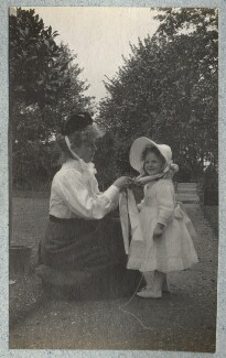 Nurse Nina; Julian Vinogradoff (née Morrell), by Lady Ottoline Morrell - NPG Ax140097
