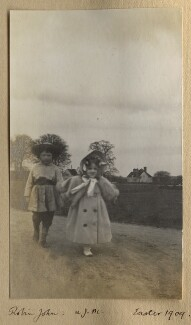 Robin John; Julian Vinogradoff (née Morrell), by Lady Ottoline Morrell - NPG Ax140106
