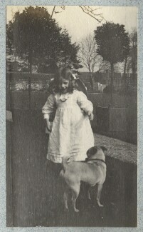 Julian Vinogradoff (née Morrell) with her pug, by Lady Ottoline Morrell - NPG Ax140120