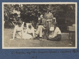 Lady Ottoline Morrell; Maria Huxley (née Nys); Lytton Strachey; Duncan Grant; Vanessa Bell (née Stephen), by Unknown photographer, July 1915 - NPG Ax140432 - © National Portrait Gallery, London