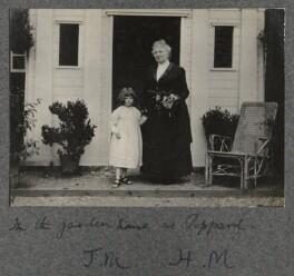 'In the garden house at Peppard' (Julian Vinogradoff (née Morrell); Harriette Morrell (née Wynter)), by Lady Ottoline Morrell - NPG Ax140265
